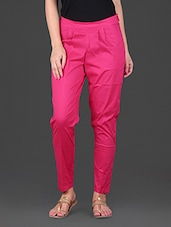 Pink Plain Cotton Lycra Ankle Length Stretchable Pant - Lamora Get High In Fashion