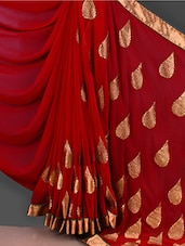 Gota Border Embroidered Red Georgette Saree - Janya