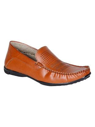 solid tan faux leather cutwork loafers