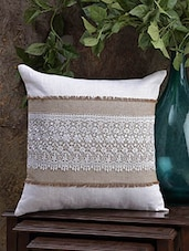 Off White Cotton Cushion Cover With Lace - Malang