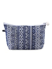 Printed Blue Poly Crepe Utility Pouch - Malang