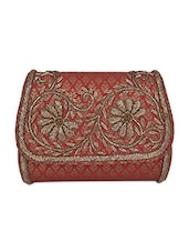 Red Embroidered Sling Bag - Ritu Kumar