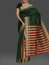 Dark Green Stripped Handwoven Cotton Saree - Komal Sarees
