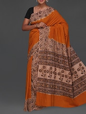 Floral Print Handwoven Kalamkari Saree - Komal Sarees
