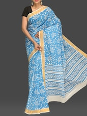 Blue Floral Print Handloom Cotton Saree - Komal Sarees