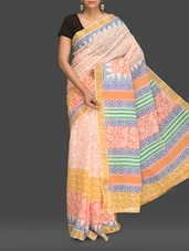 Multicoloured Floral Print Handloom Cotton Saree - Komal Sarees