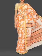 Orange Floral Print Handloom Cotton Saree - Komal Sarees