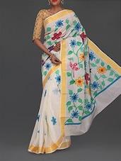 Golden Border Floral Print Handloom Cotton Saree - Komal Sarees