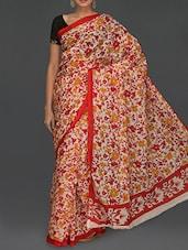 Red & Yellow Botanical Printed Saree - Komal Sarees