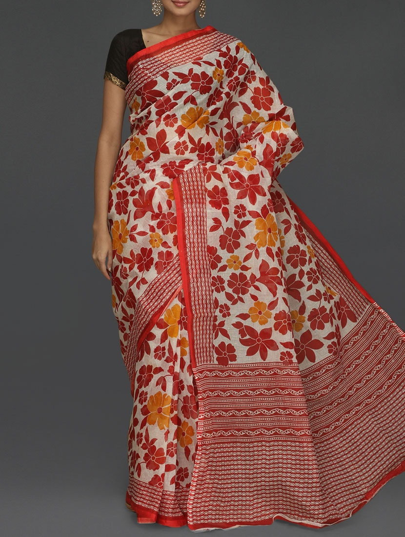 Floral With Leaf Printed Red Kota Saree - Komal Sarees
