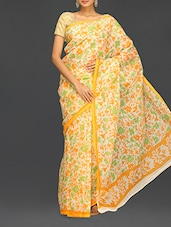 Yellow Floral With Leaf Printed Kota Saree - Komal Sarees