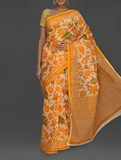 Orange & Green Floral Printed Saree - Komal Sarees
