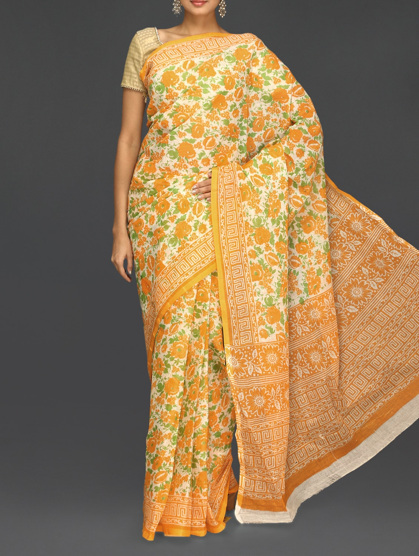 Yellow Floral With Leaf Printed Saree - Komal Sarees