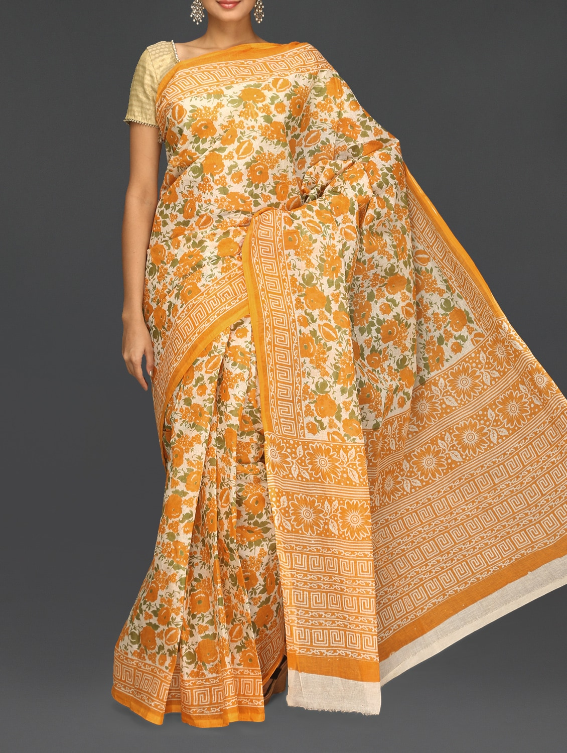 Orange Floral With Leaf Printed Saree - Komal Sarees