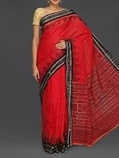 Red Cotton Sambhalpuri Katki Saree - Komal Sarees