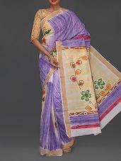 Floral Painted Pallu Handloom Cotton Saree - Komal Sarees