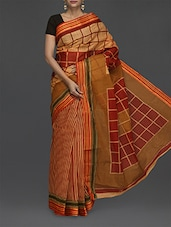 Geometric Print Striped Handloom Cotton Saree - Komal Sarees