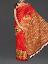 Floral Vine Printed Matka Cotton Saree - Komal Sarees