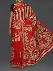 Printed Red Matka Cotton Saree - Komal Sarees