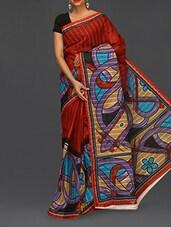 Abstract Print Red Matka Cotton Saree - Komal Sarees