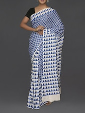 Triangles Printed Pallu Malmal Cotton Saree - Komal Sarees