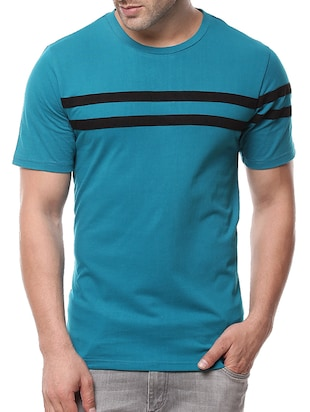 teal blue cotton striped t-shirt