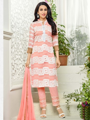 peach embroidered georgette unstitched suit set