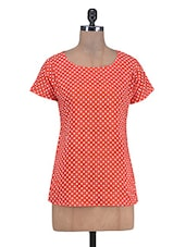 Red Cotton Polka Dots Print Top - By