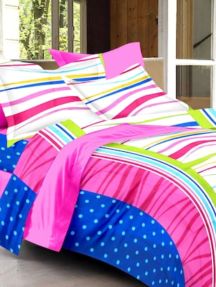 multicoloured printed cotton double bed sheet set