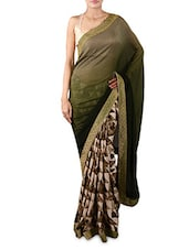 Olive Green Printed Crepe Saree - By