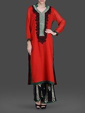 Red And Black Georgette Embroidered Kurta With Palazzo - Concepts