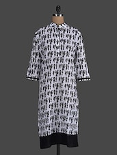 Quarter Sleeves Monochrome Printed Cotton Kurta - Concepts