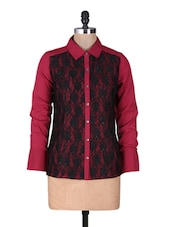Maroon Crepe Shirt With Black Lace - By