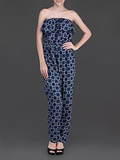Blue Printed Strapless Jumpsuit - Oranje