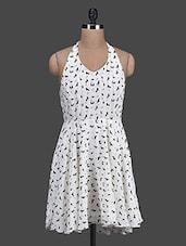 Cream Printed Halter-neck Georgette Dress - Oranje