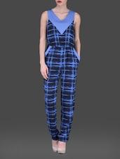 Blue Printed Sleeveless Poly-crepe Jumpsuit - AARDEE