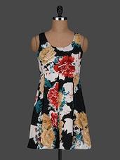 Sleeveless Floral Printed Polycrepe Shift Dress - AARDEE
