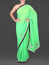Green Chiffon Saree With Gota-Patti Work - Saree Ghar