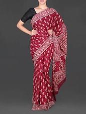 Maroon Leaf Printed Mulmul Cotton Saree - Aaradhya Creation