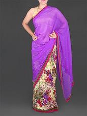 Floral Print Half & Half Chiffon Saree - Saree Street
