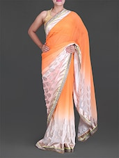 Orange Foil Printed Chiffon Saree - Saree Street