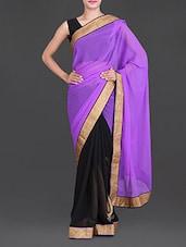 Purple And Black Chiffon Saree - Saree Street