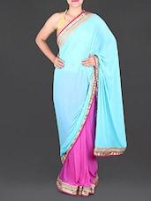 Aqua Blue And Pink Chiffon Saree - Saree Street