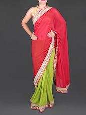 Red And Green Chiffon Saree - Saree Street