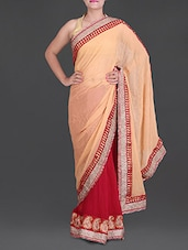 Red And Peach Georgette  Saree - Saree Street