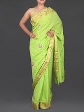Light Green Chiffon Saree With Patchwork - Saree Street