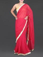 Red Chiffon Saree With Gold Border - Saree Street