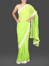 Lime Green Chiffon Saree With Floral Border - Saree Street