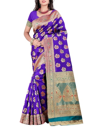 purple silk blend saree with blouse
