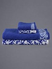 Set Of 4 Blue Jacquard Towels - Eurospa
